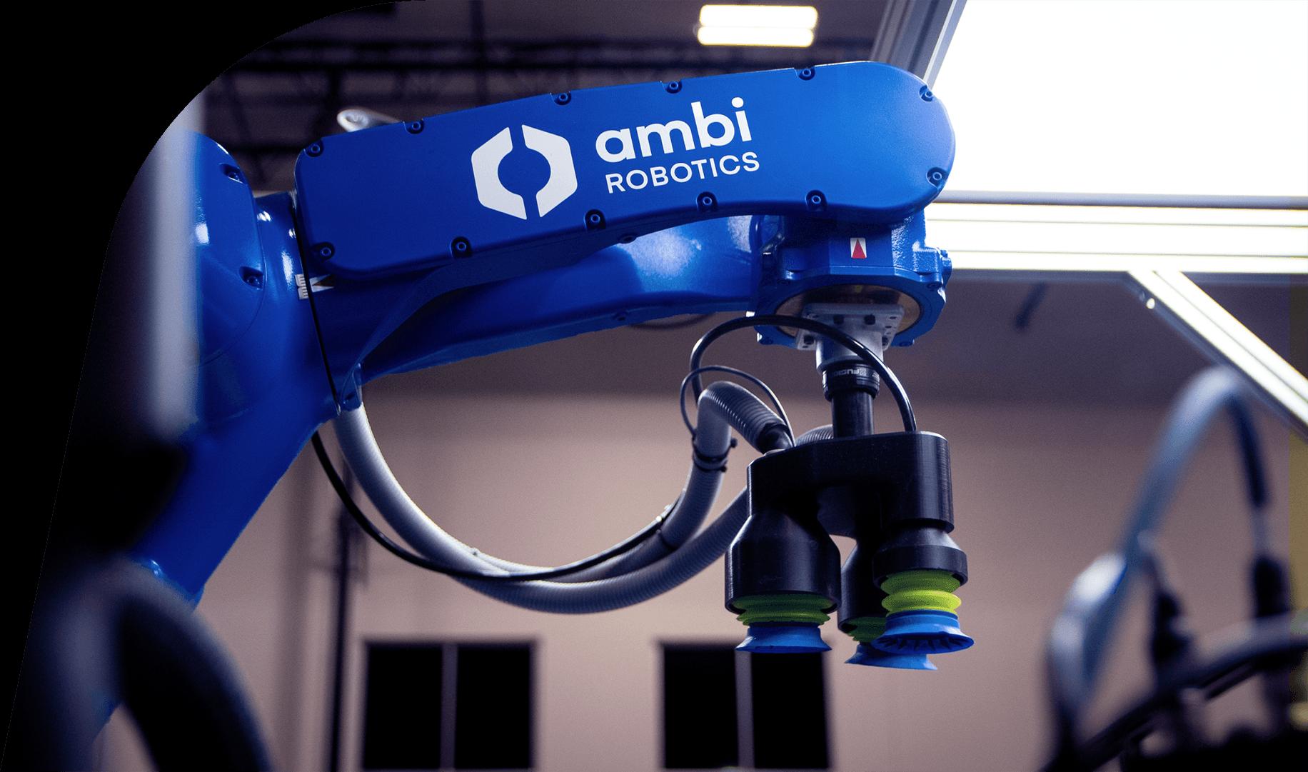 Ambi Robotics: New logo design on AmbiSort robot arm