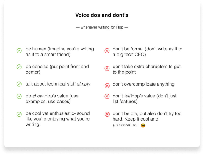 Hop - Case study: Voice dos and dont's